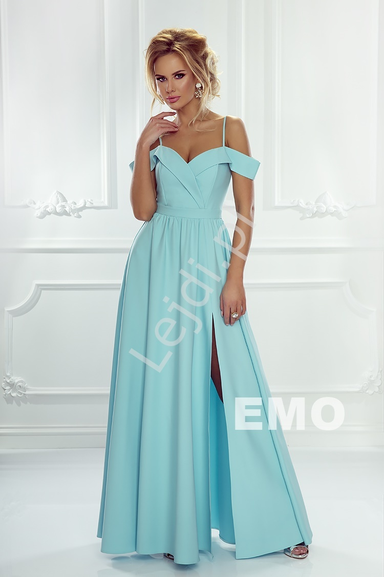 Turkusowa sukienka na wesele z odkrytymi ramionami ELIZABETH , Disney koncert Kasia Łaska - Lejdi