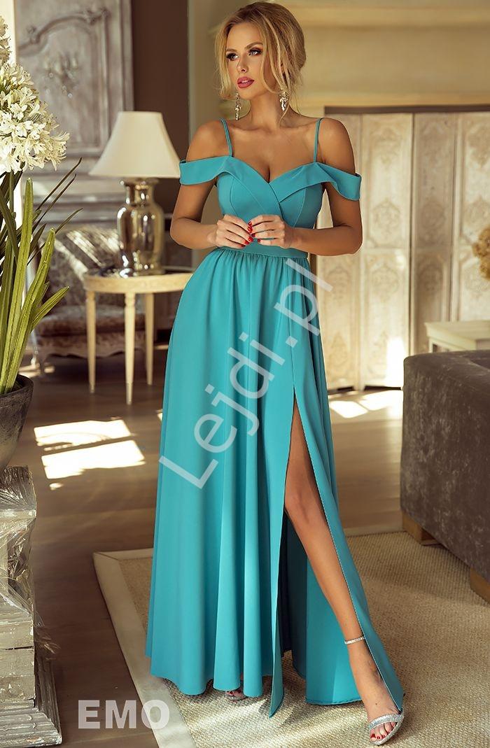 Sukienka na wesele z odkrytymi ramionami ELIZABETH szmaragd - Lejdi