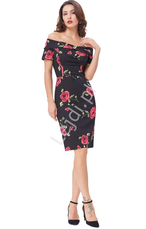 Sukienka ołówkowa czarna w róże z dekoltem carmen - Lejdi