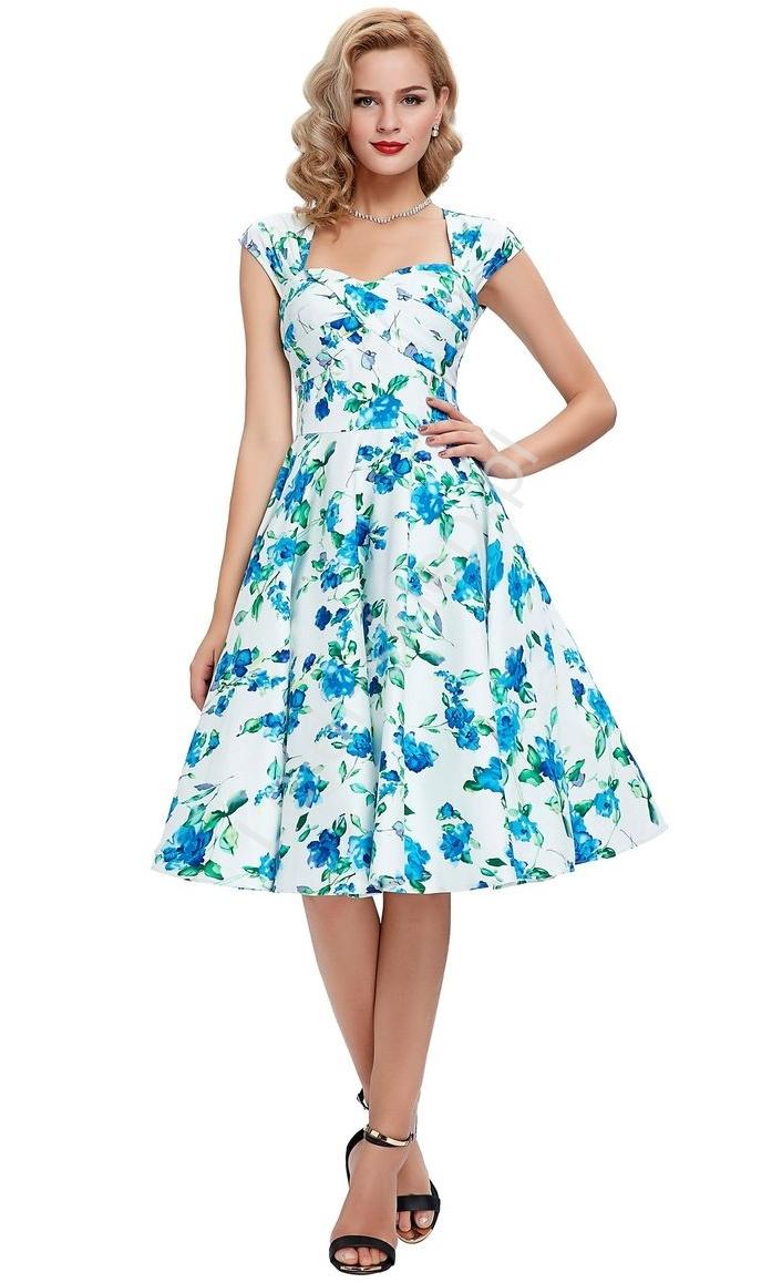 Sukienka pin-up , swingdress |sukienka retro w niebieskie kwiaty - Lejdi