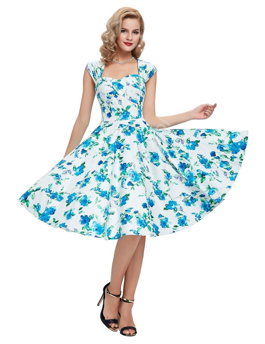 Sukienka Pin Up Swingdress Retro W Niebieskie Kwiaty 024 Lejdipl