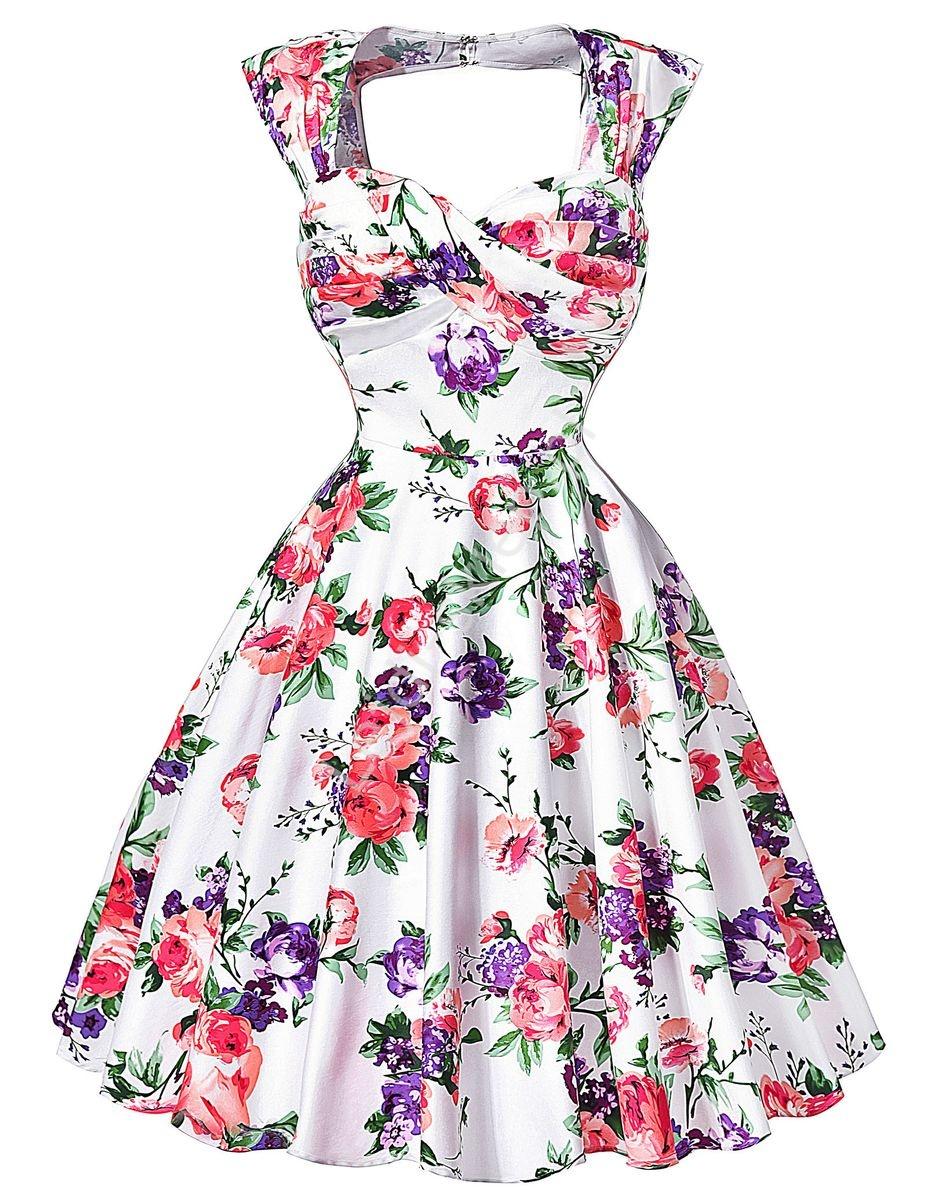 Sukienka pin-up , swingdress, retro w różowe i fioletowe kwiaty, 024 - Lejdi