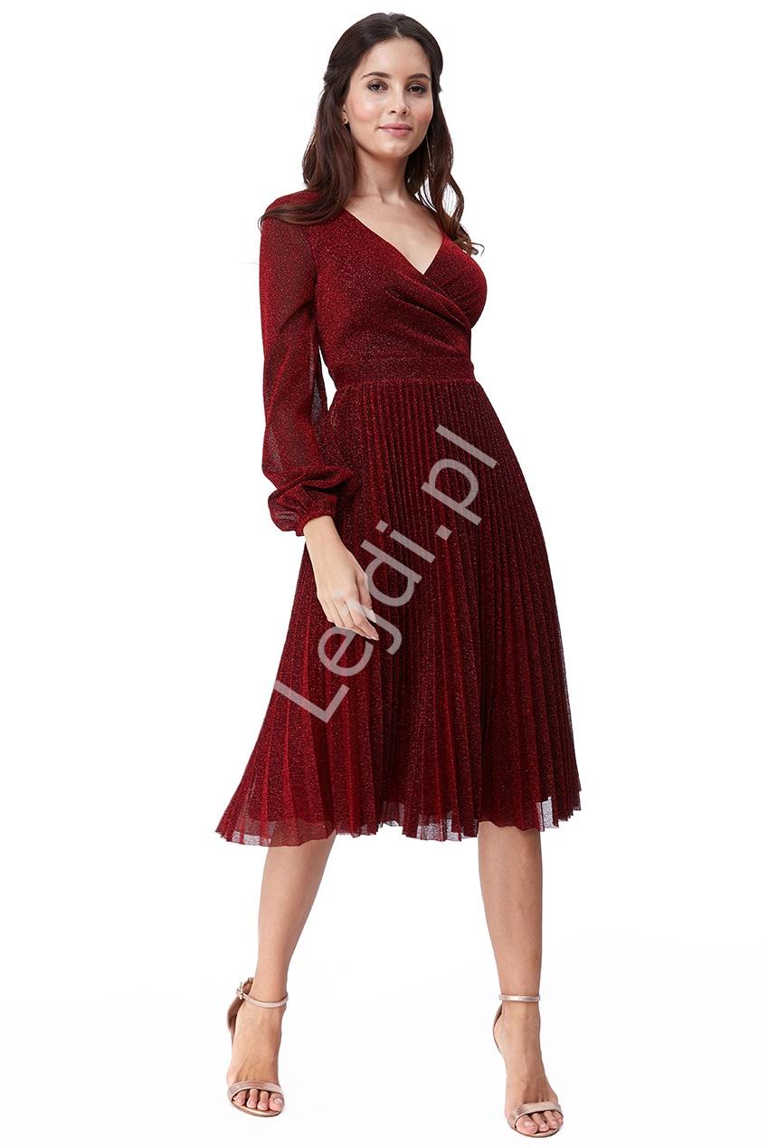 Sukienka plisowanka z lureksu mieniącymi się opiłkami, ciemne wino 2410 - Lejdi