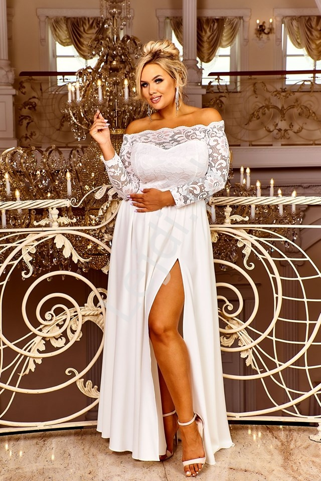 Sukienka ślubna z dekoltem carmen - Samanta - Lejdi