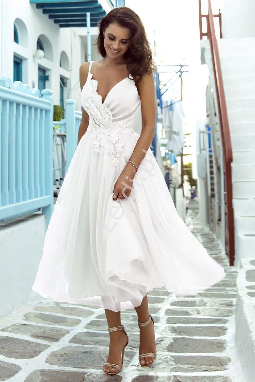Sukienka ślubna z tiulowym dołem, ślub cywilny rozmiary od 34 do 52, m418 - Lejdi