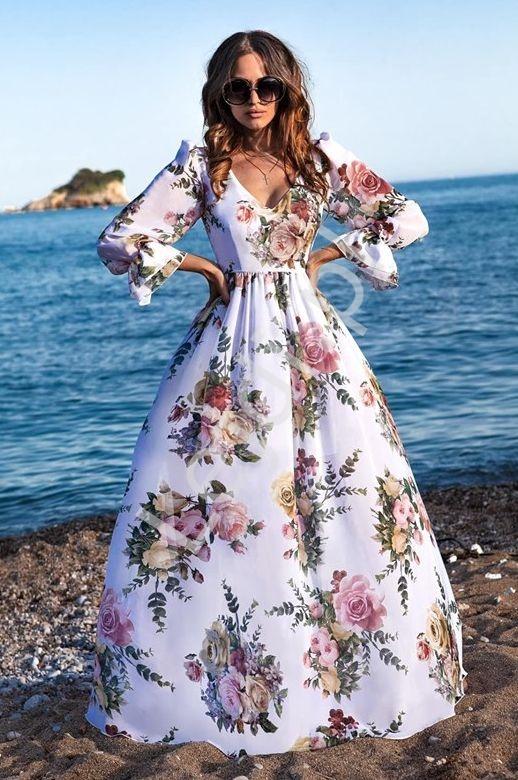 Sukienka szyfonowa w kwiaty Olivia - Lejdi