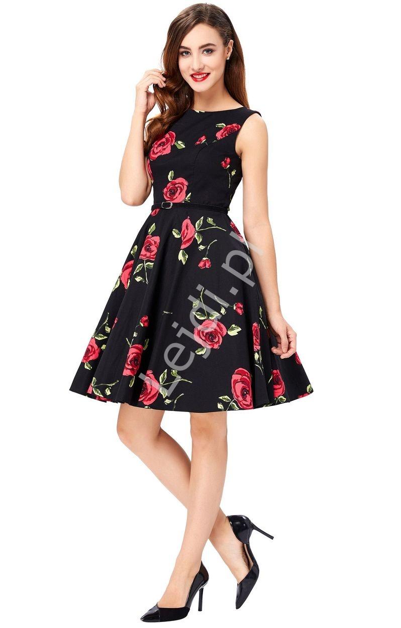 Elegancka sukienka w czerwone róże dla mamy i córki - Lejdi