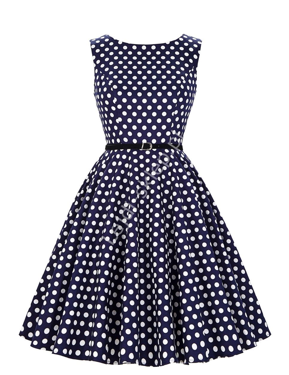 be2273e6bc344 Klasyczna sukienka pin- up w kropki PLUS SIZE   odzeż dla puszystych r. 34  - r.48, 6086