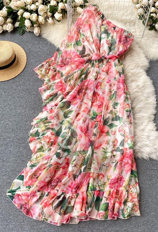 Sukienka w kwiaty na jedno ramię z falbanami 0993 - Lejdi