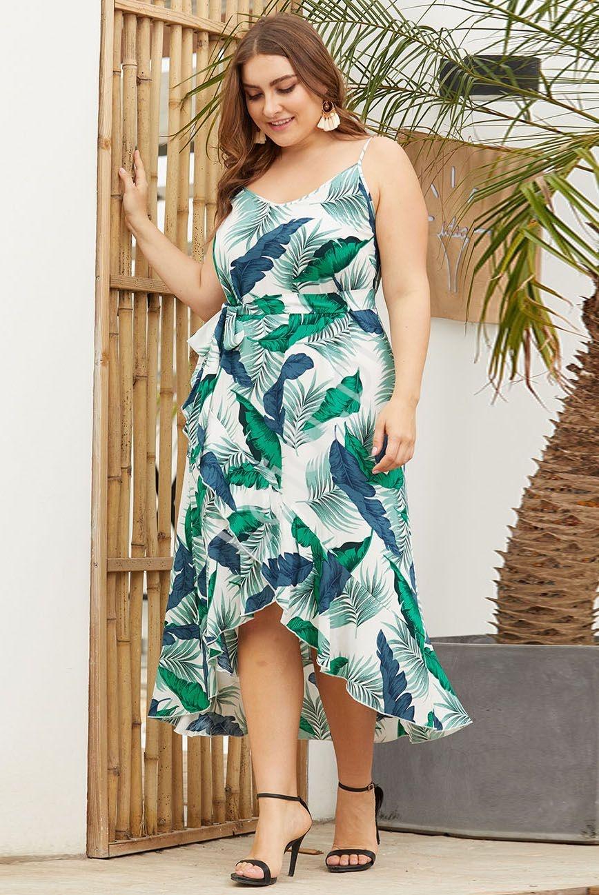 Sukienka w liście Plus Size - Lejdi
