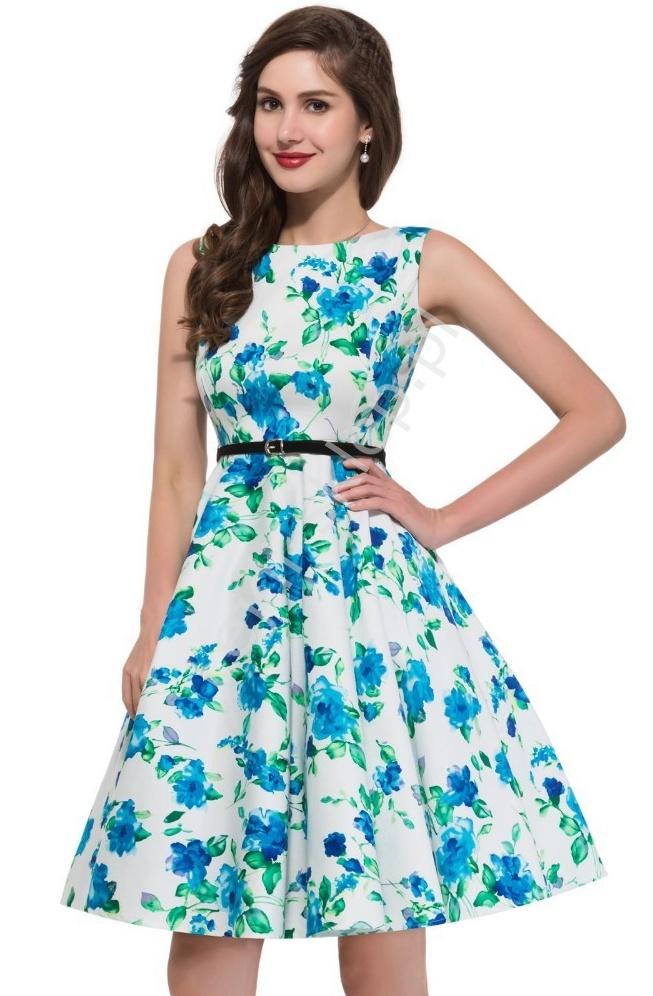 Sukienka w niebieskie kwiaty | sukienki w stylu pin-up, retro sukienki - Lejdi