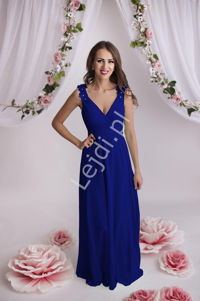 Sukienka wieczorowa chabrowa z gipiurową koronką na ramionach - Lejdi