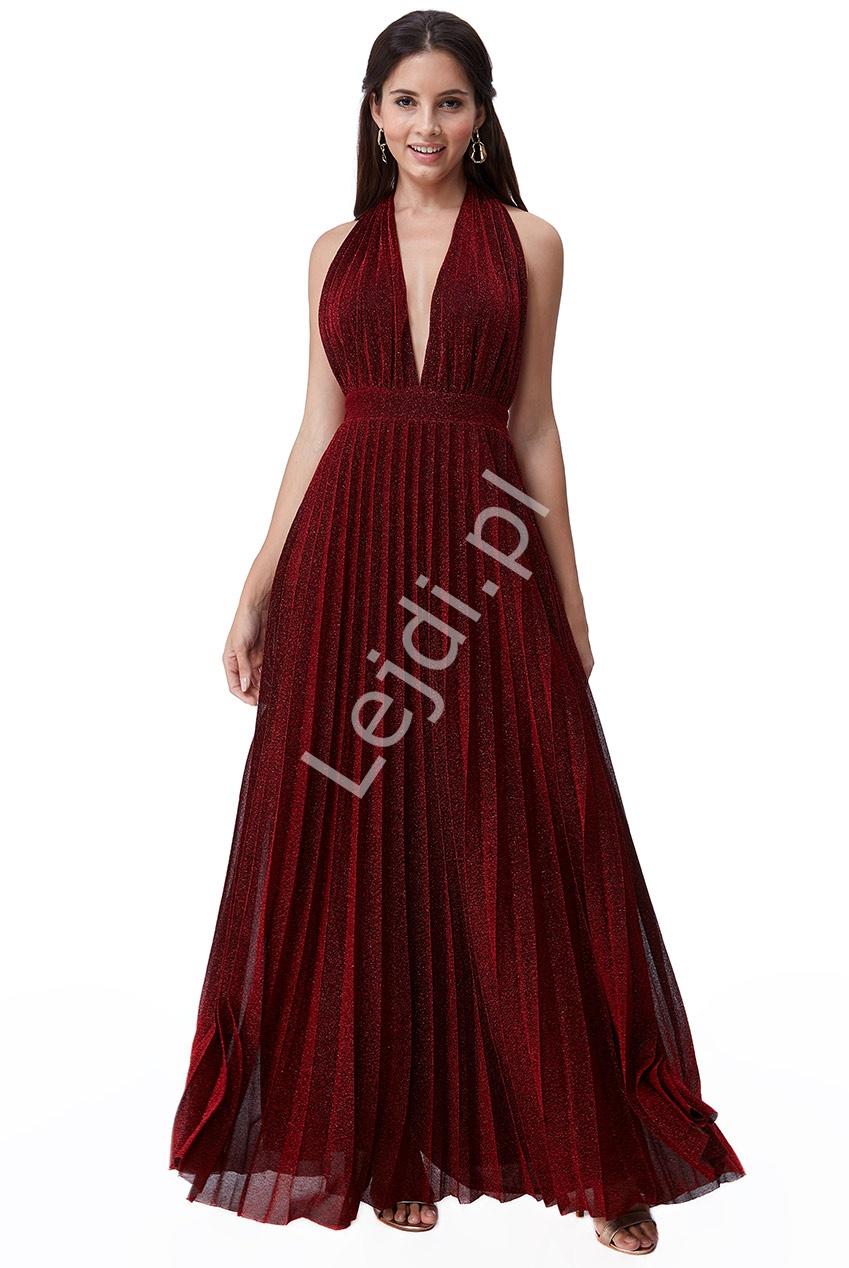 Sukienka wieczorowa plisowanka z odkrytymi plecami, ciemne wino Goddiva 2496 - Lejdi