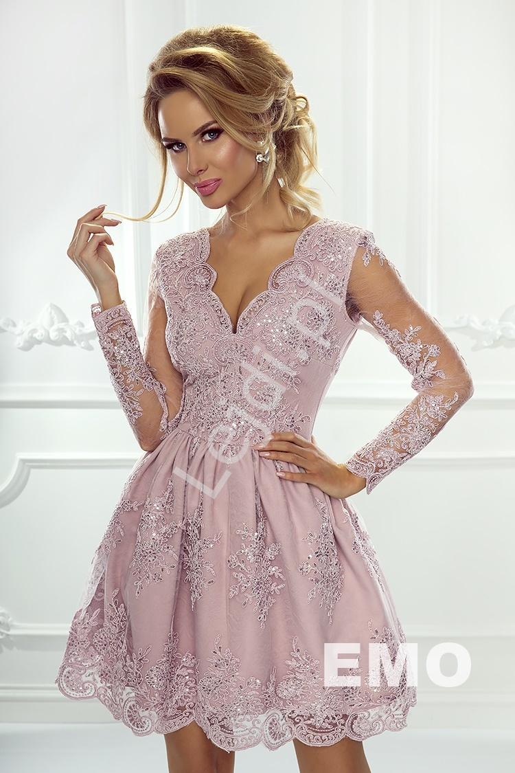 Sukienka wieczorowa z długim rękawem, sukienka w kolorze lila - Amelia - Lejdi