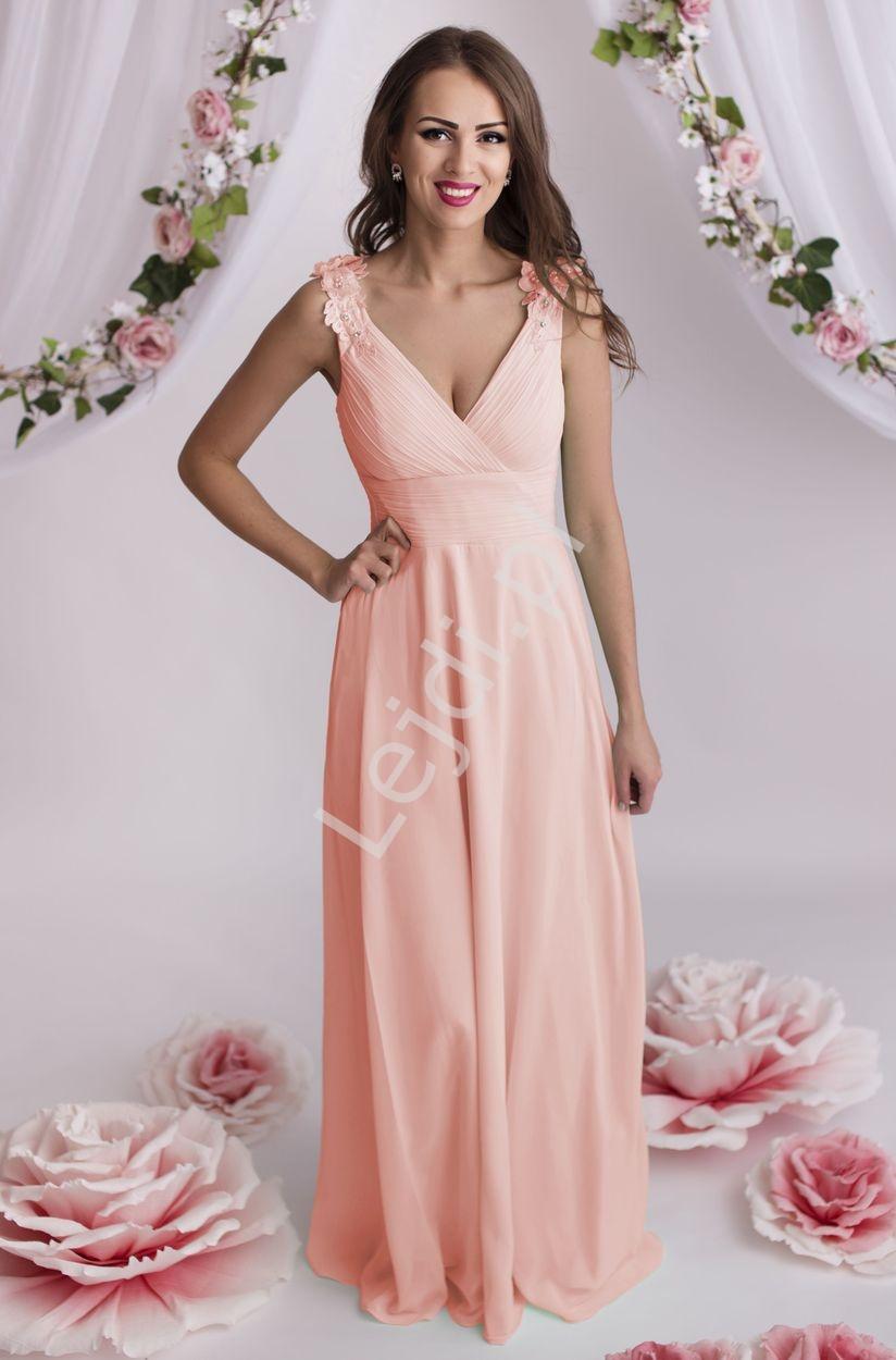 Sukienka wieczorowa z gipiurowymi kwiatami na ramionach, jasny róż | druhny, świadkowe - Lejdi