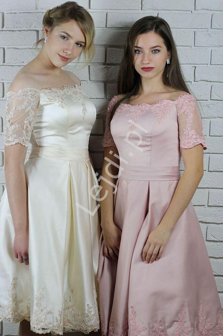 Sukienka z gipiurową koronka na wesele, urodziny, studniówkę, komunię, brudny róż - Lejdi