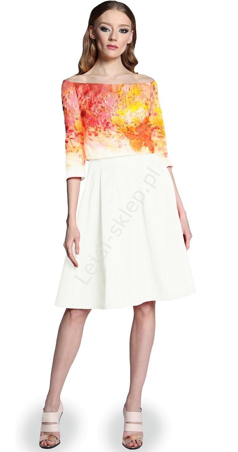 Sukienka imitacja bolerka z printem by MONA by Monika Natora 286 , 5 kolorów - Lejdi