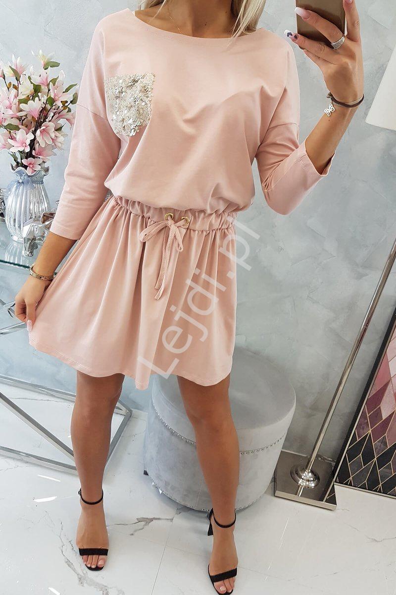 Sukienka z kieszonką z cekinami ciemny pudrowy róż 9004 - Lejdi