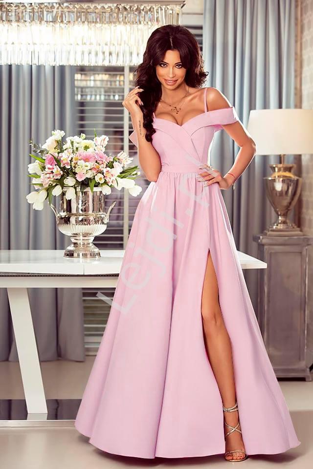 Sukienka z odkrytymi ramionami jasny róż ELIZABETH - Lejdi