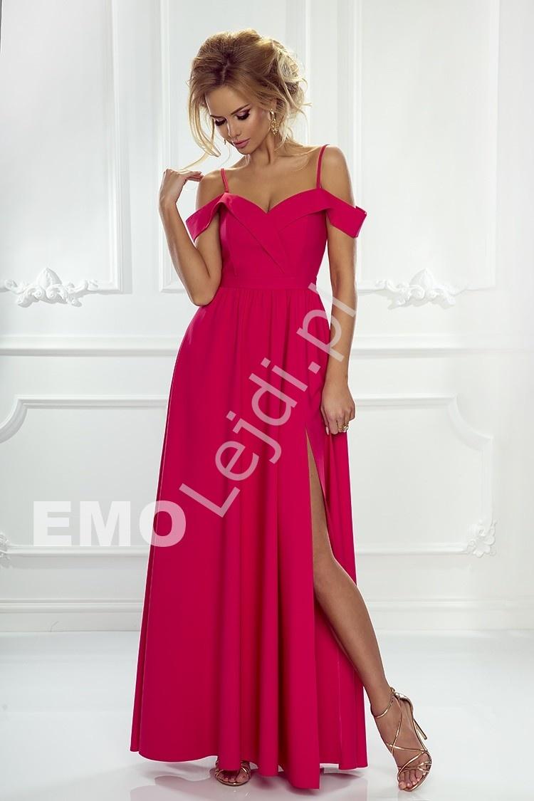 Sukienka z odkrytymi ramionami w kolorze malinowym ELIZABETH - Lejdi