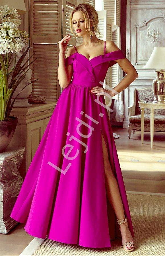 Sukienka z odkrytymi ramionami, zmysłowa długa , fuksja ELIZABETH - Lejdi