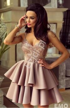 5b90abcb83ad4d Sukienka z piankową spódnicą na cienkich ramiączkach w kolorze kawy z  mlekiem - Leila