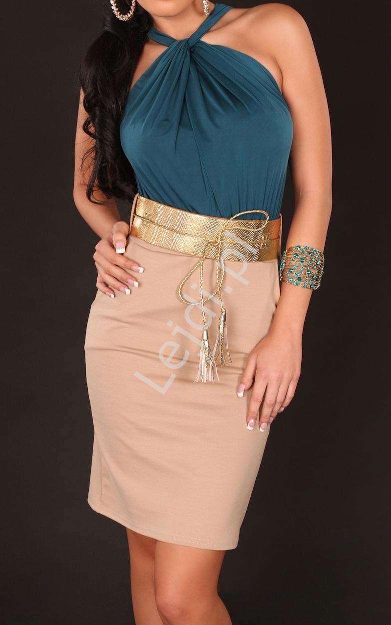 Sukienka z szmaragdową górą z węzełkiem pod szyją - Lejdi