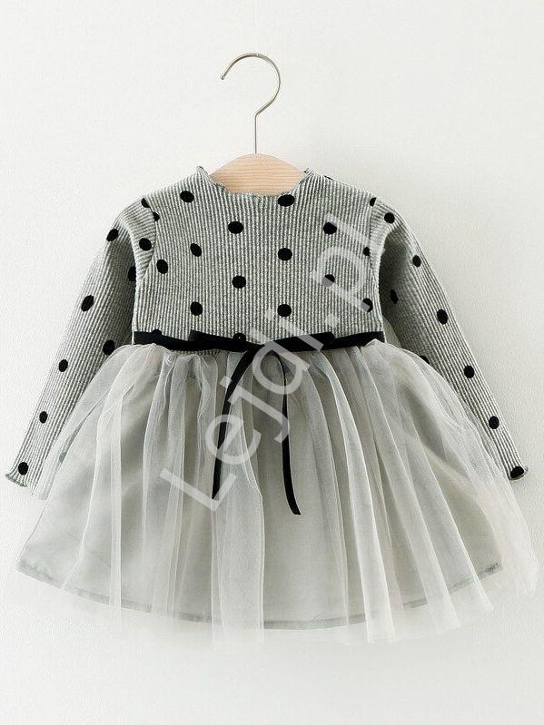 Sukienka z tiulową spódnicą szara 032 - Lejdi