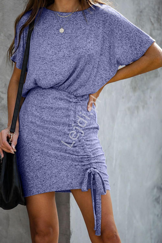 Sukienka ze ściągaczem 197, niebieski melanż - Lejdi