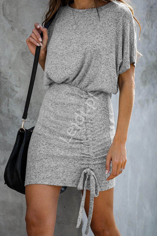 Sukienka ze ściągaczem 197, szary melanż - Lejdi