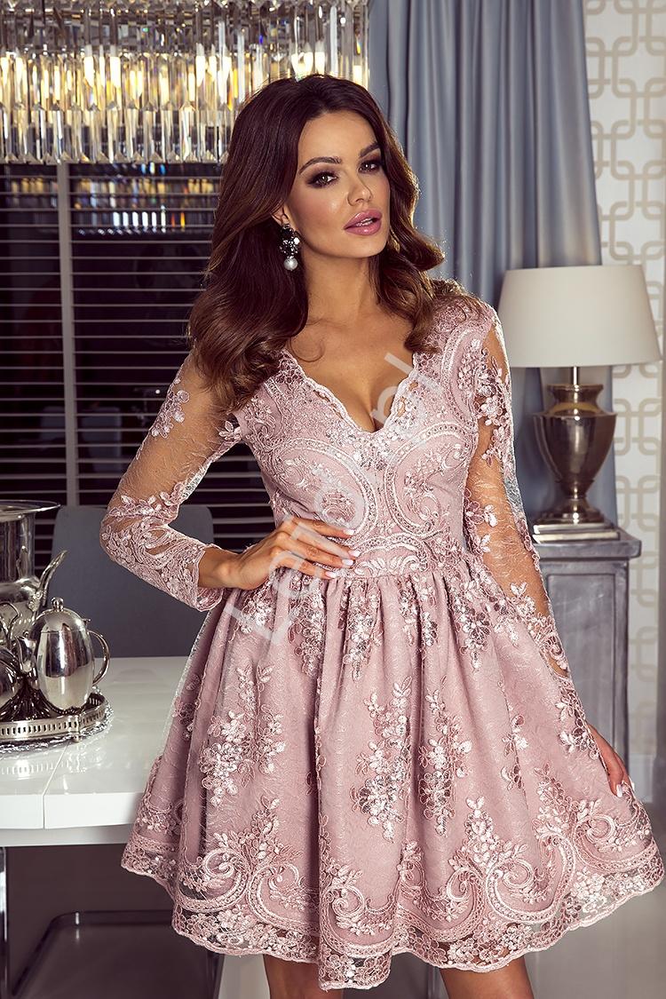 Sukienki na wesele, koronkowa, pudrowy róż - Amelia - Lejdi