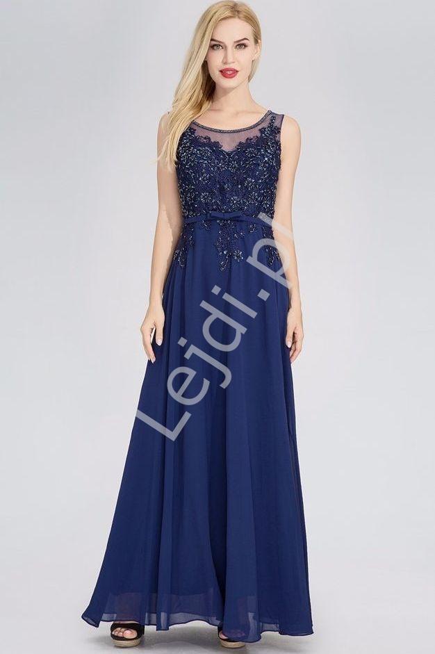 Sukienki wieczorowe z koralikami i cekinami | granatowa suknia wieczorowa - Lejdi