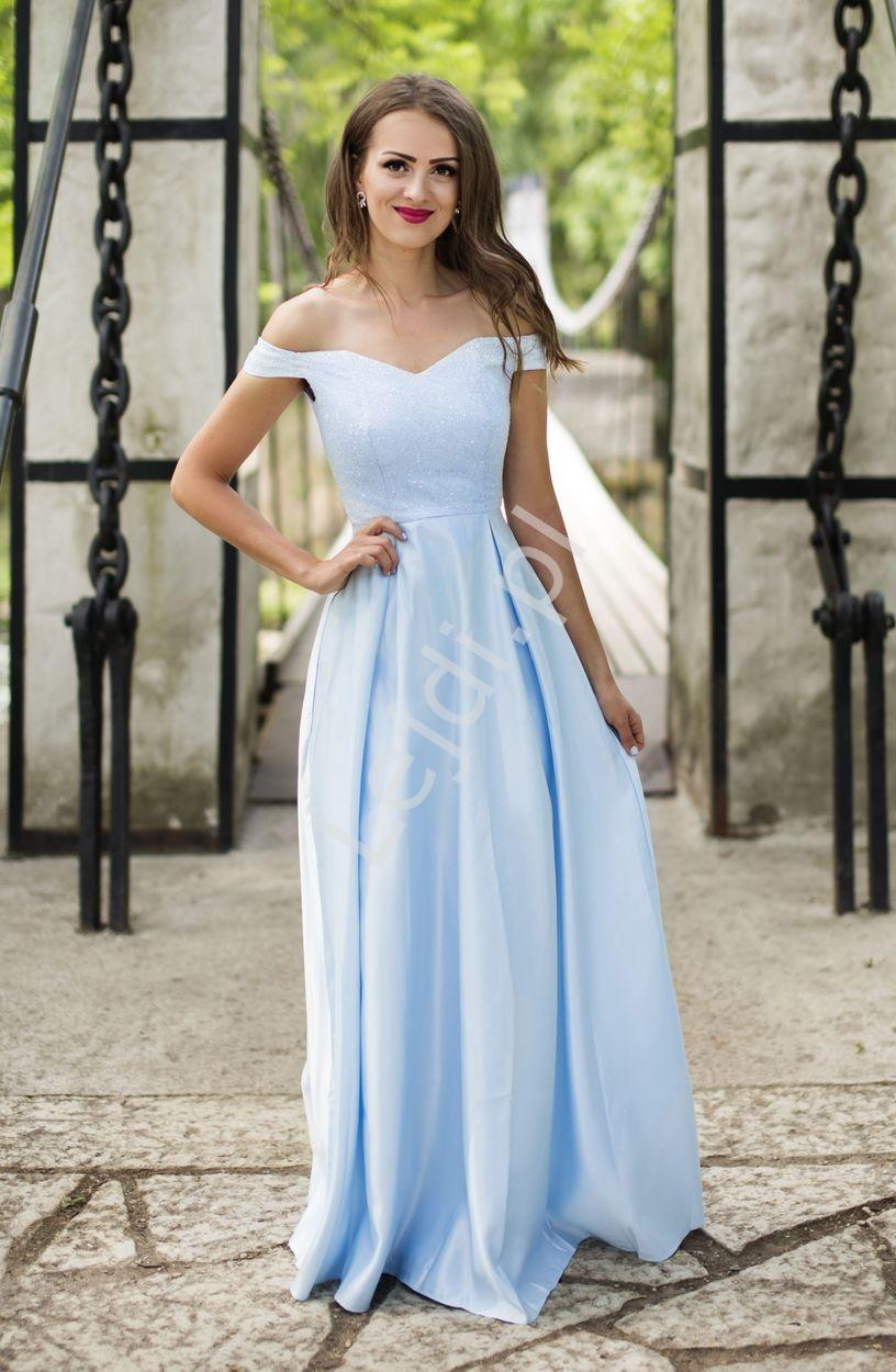 Suknia carmen z brokatowym gorsetem, błękitna 2111 - Lejdi