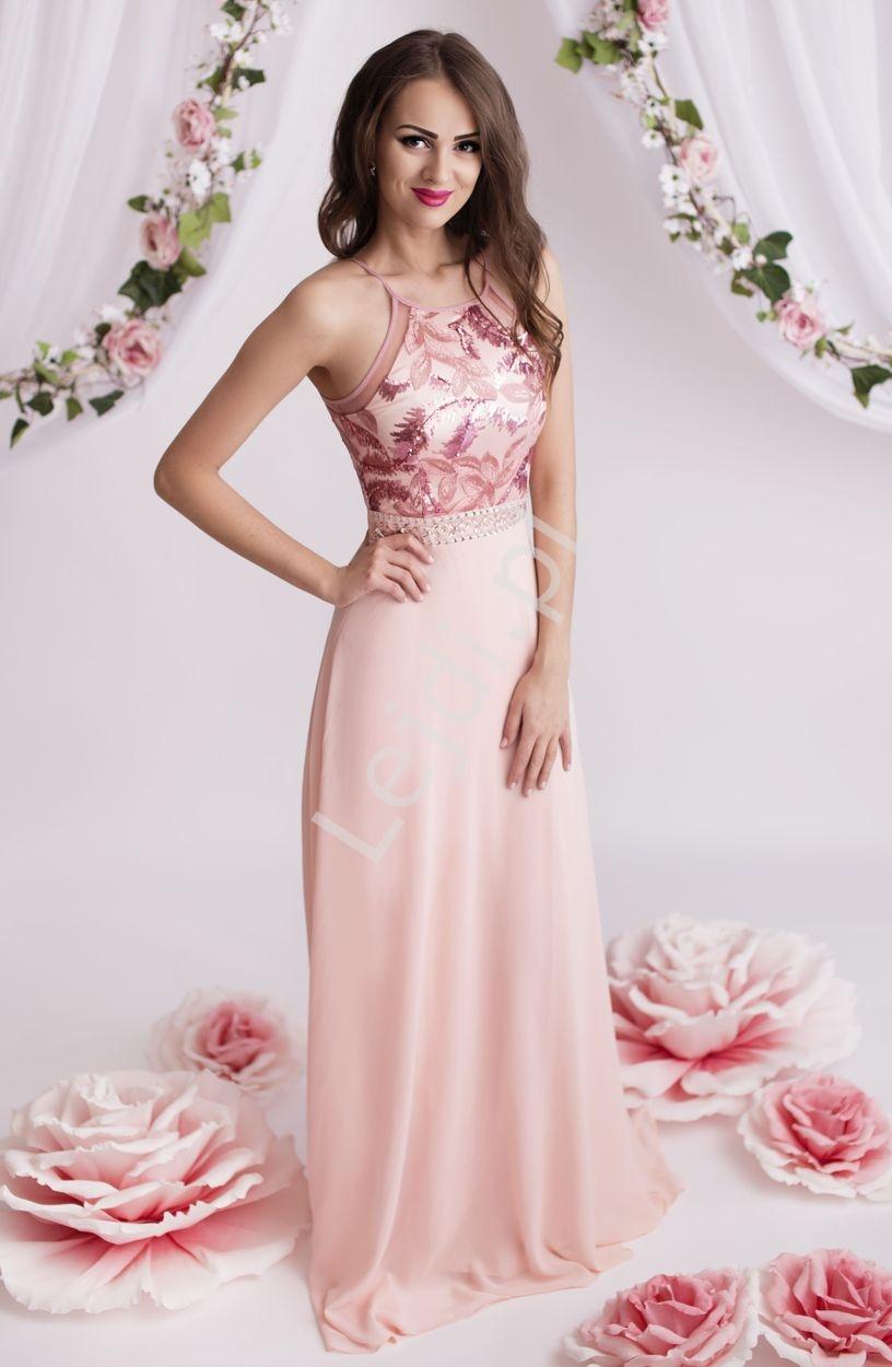 Suknia dla druhny, jasno różowa szyfonowa suknia na cieńkich ramiączkach - Lejdi