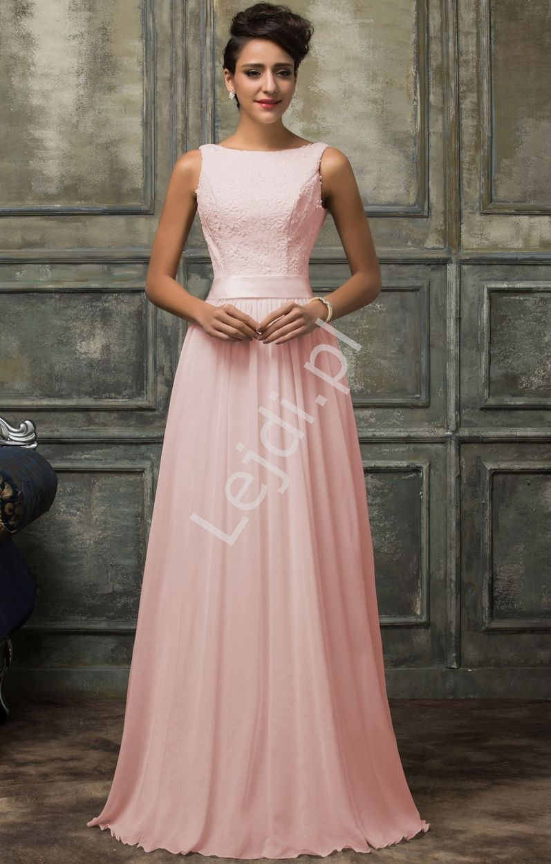 0b96dd1600 Suknia dla druhny jasno różowa z gipiurową koronką - Lejdi.pl