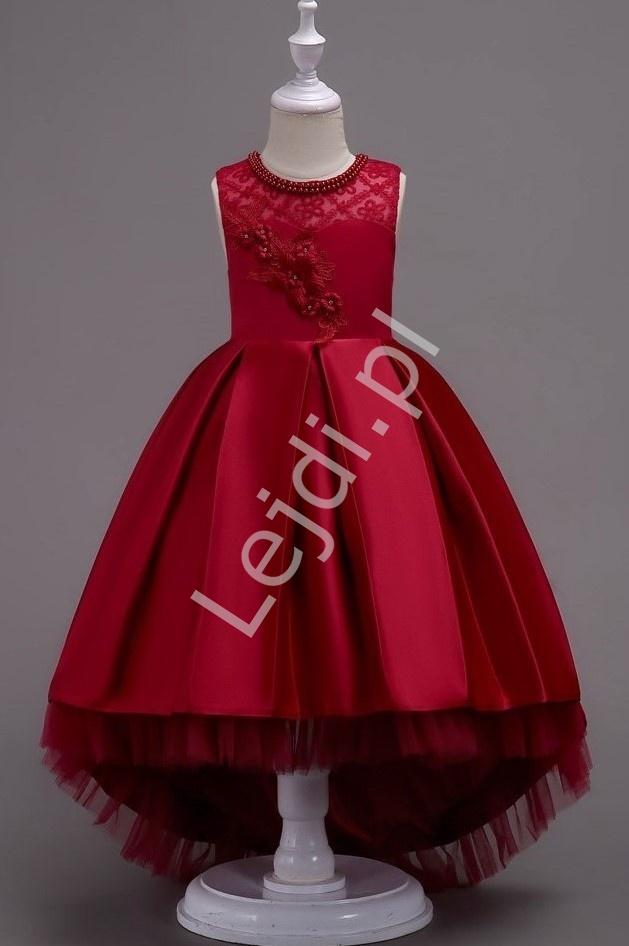 Suknia dla dziewczynki z trenem w kolorze wina - Lejdi