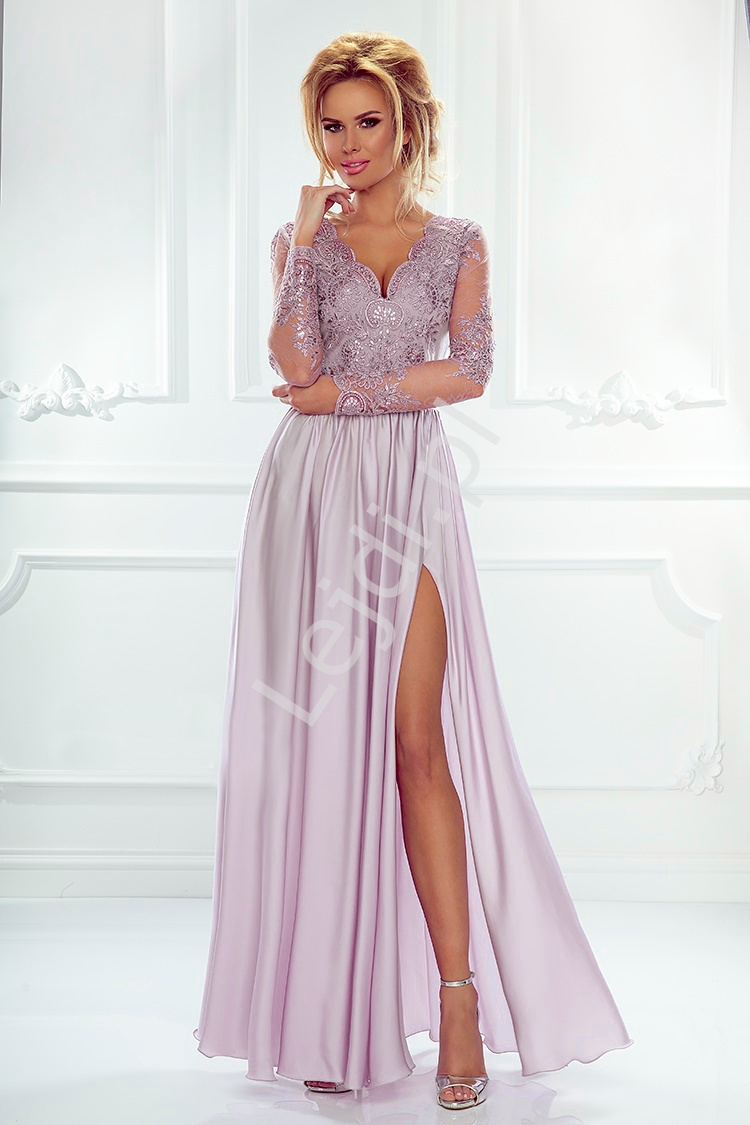 Suknia na wesele z długim rękawem - lila wieczorowa Luna - Lejdi
