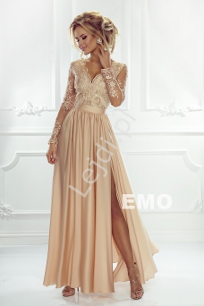 87584a6e81a642 Sukienka na wesele z długim rękawem - złota wieczorowa Luna