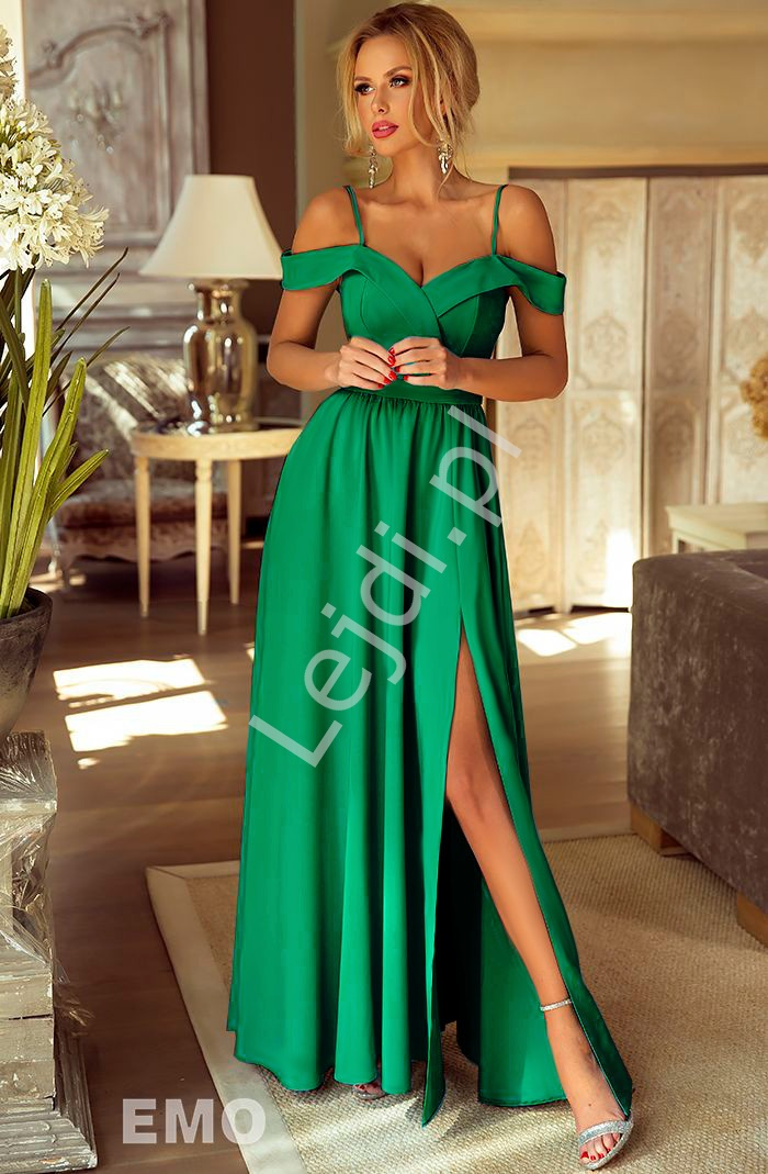 Suknia na wesele z odkrytymi ramionami w kolorze zieleni ELIZABETH - Lejdi
