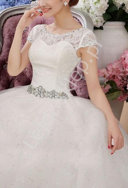 Suknia ślubna z koronką i cyrkoniowym pasem ślubne model 17, ostatnie sztuki - Lejdi