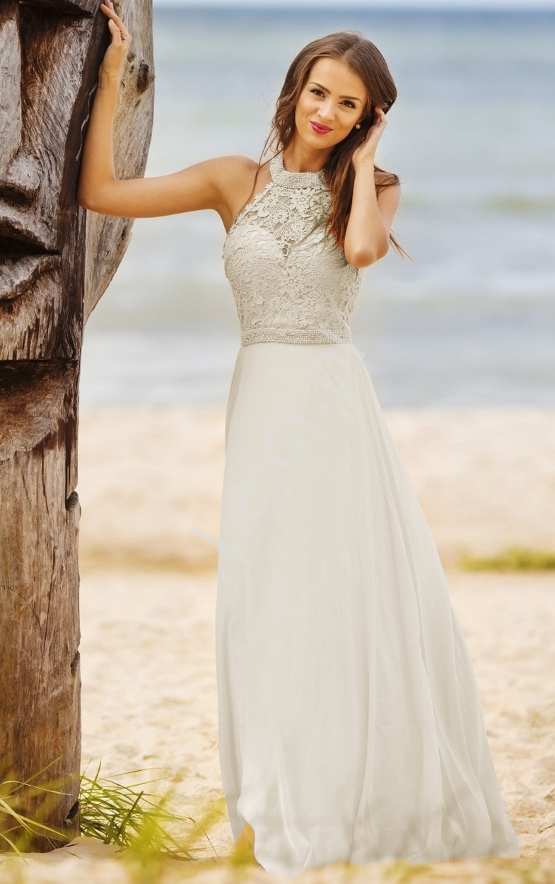 Suknia ślubna z perełkami na szyję| prosta sukienka, biała z koronką - Lejdi