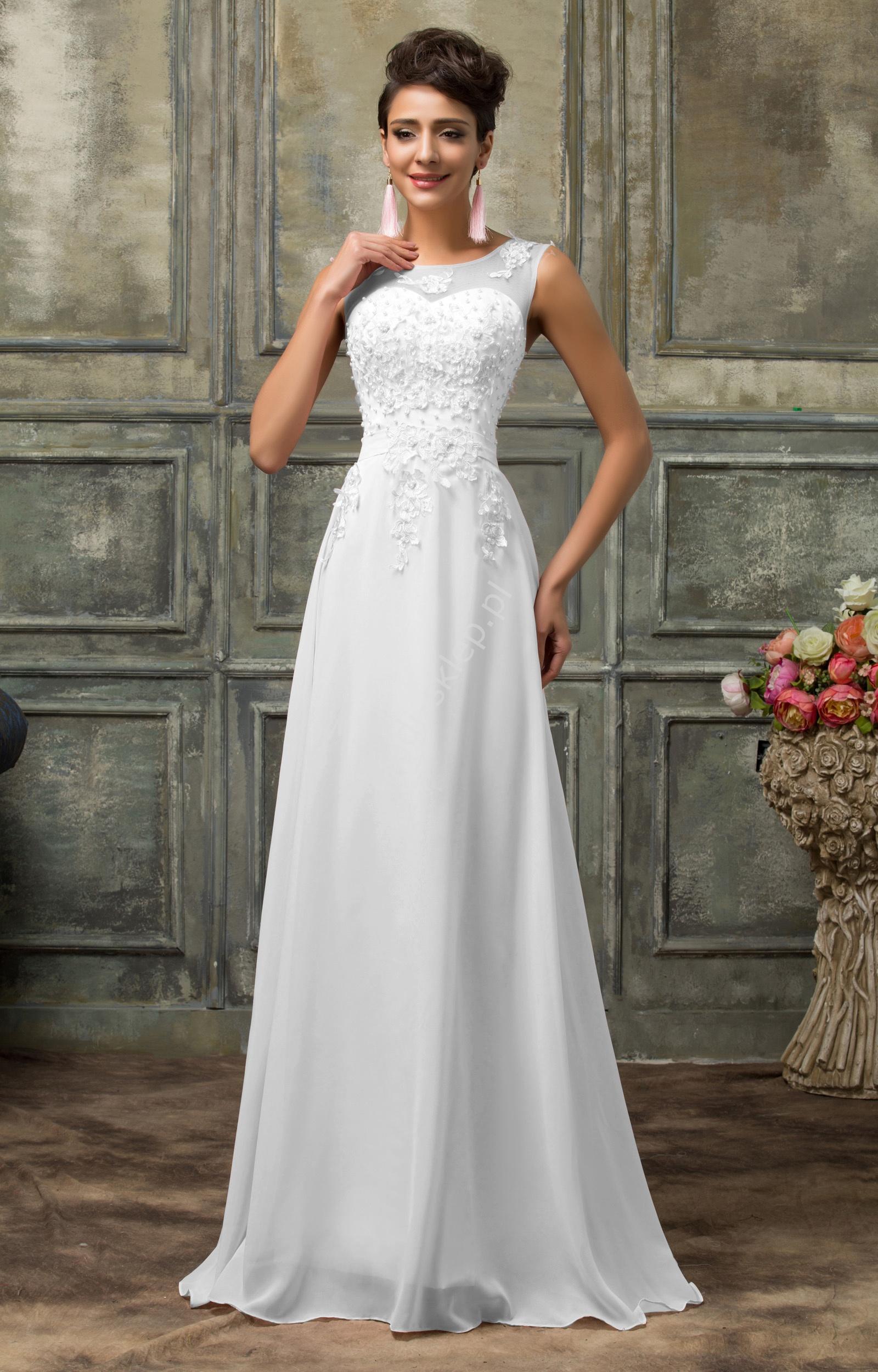 Suknia ślubna z perłami i gipiurowym haftem - Lejdi