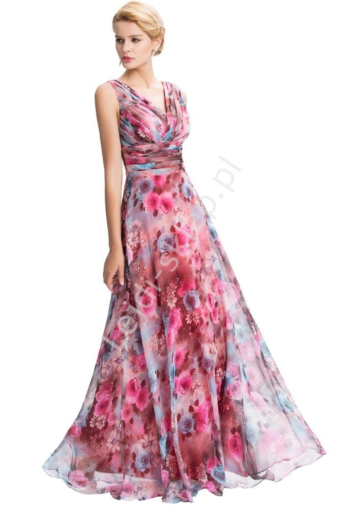 Suknia w róże. Suknia na wesele, dla druhen , świadkowych, Matki Panny Młodej - Lejdi