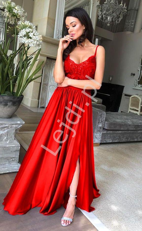 3218fc3a27 Czerwona suknia wieczorowa na studniówkę lub wesele