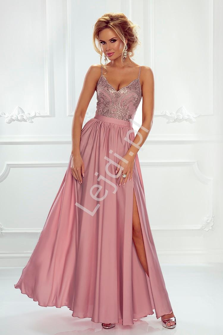 Suknia wieczorowa na studniówkę lub wesele, pustynny róż Bella - Lejdi