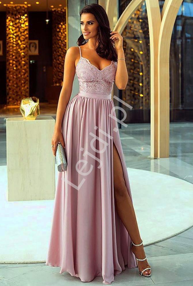Suknia wieczorowa na wesele, studniówkę lub dla druhen, Bella w kolorze lila - Lejdi
