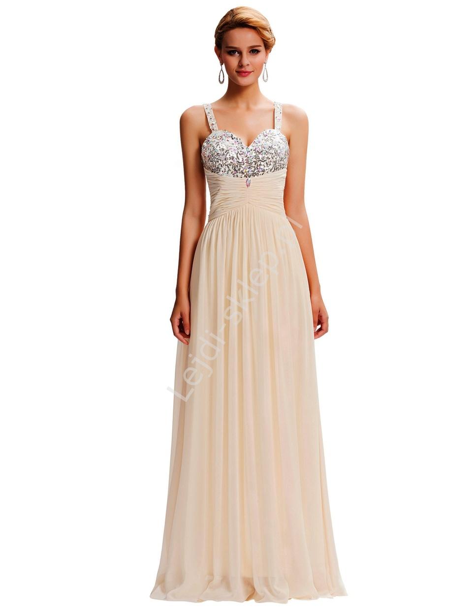Suknia wieczorowa z cekinami i kryształkami na biuście, bardzo jasny beż - Lejdi
