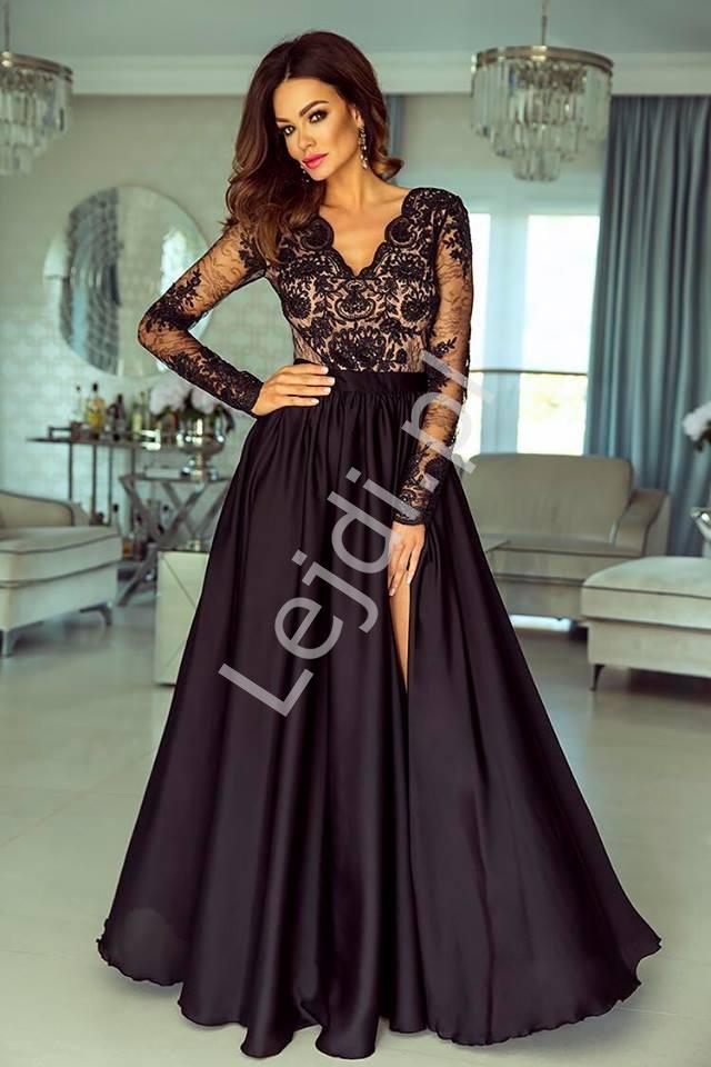 Suknia wieczorowa z jedwabistym dołem - Luna czarna z pudrowo różową podszewką - Lejdi