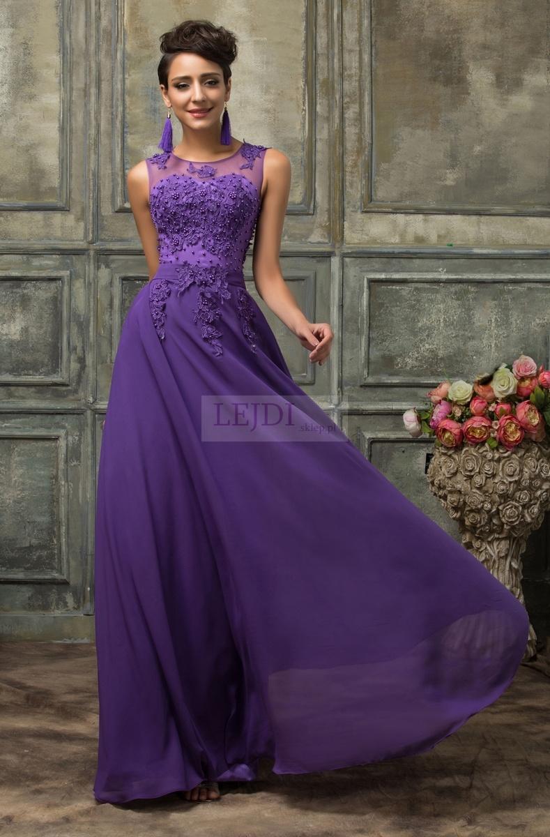 Suknia wieczorowa z perłami, fioletowa gipiura r.34 - r.54 - Lejdi