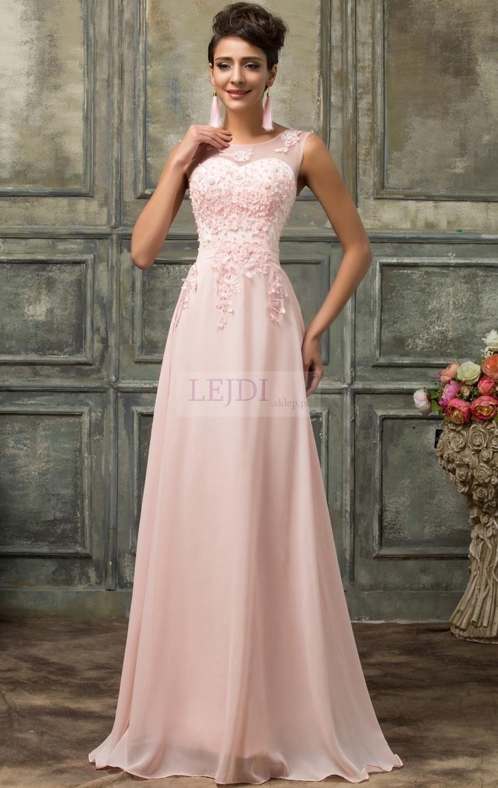 Suknia wieczorowa z perłami, jasny róż r.34 - r.54 - Lejdi